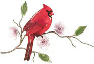 Cardinal on Cherry Blossom Wall Sculpture