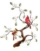 Cardinals in Tree Wall Sculpture