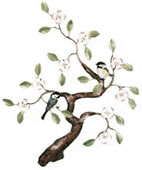 Chickadees in Tree Wall Sculpture