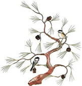 Chickadees on Copper Tree with 3D Pine Cones