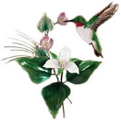 Hummingbird with Trillium Wall Sculpture