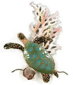 Mini Sea Turtle With Coral Wall Sculpture