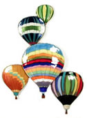 5 Balloons In Flight Wall Sculpture