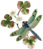 Green Winged Dragonfly with Flower Wall Sculpture