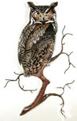 Great Horned Owl on Branch Wall Sculpture