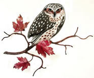 Owl on Maple Leaf Branch Wall Sculpture
