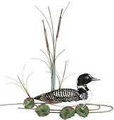 Loon with Lily Pads Wall Sculpture