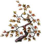 Maple Tree With Enameled Autumn Leaves Wall Sculpture