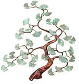 Ginkgo Tree With Patina Brass Leaves Wall Sculpture