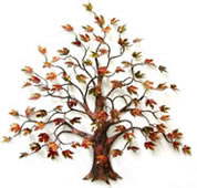 Large Maple Tree With Enameled Autumn Leaves Wall Sculpture