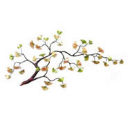 Gingko Branch Enameled Wall Sculpture