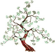 Ginkgo Tree- Patina Brass Leaves Wall Sculpture