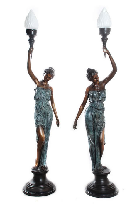 Bronze Lady Lamps (Set of 2)