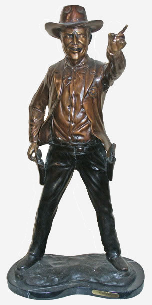 Gun Smoke Bronze Cowboy Sculpture