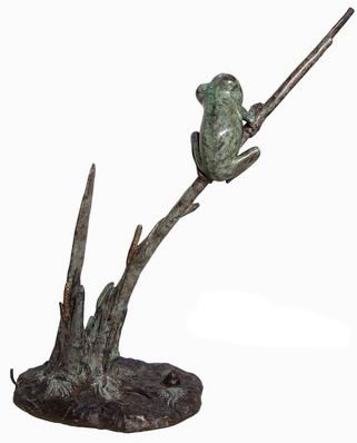 Bronze Frog on Leaf Statue