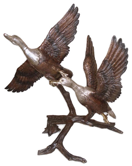 Bronze Flying Ducks on Branch Fountain