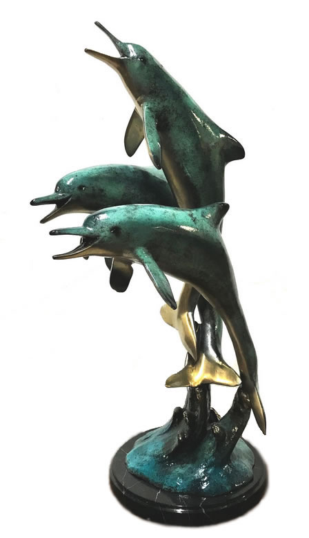 Three Jumping Dolphins Statue-Special Patina/Bronze