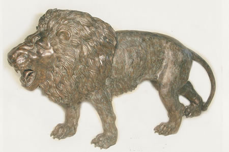 Bronze Walking Lion Sculpture, Extra Large