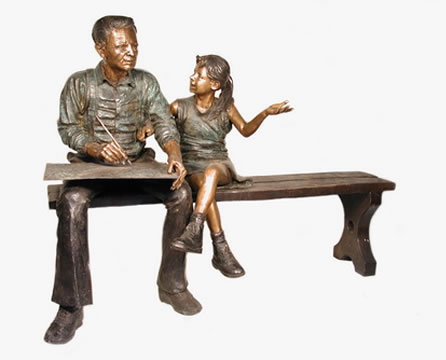 Grandpa and Granddaughter on Bench- Bronze