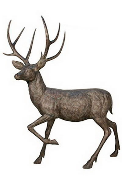 Bronze Walking Deer Sculpture