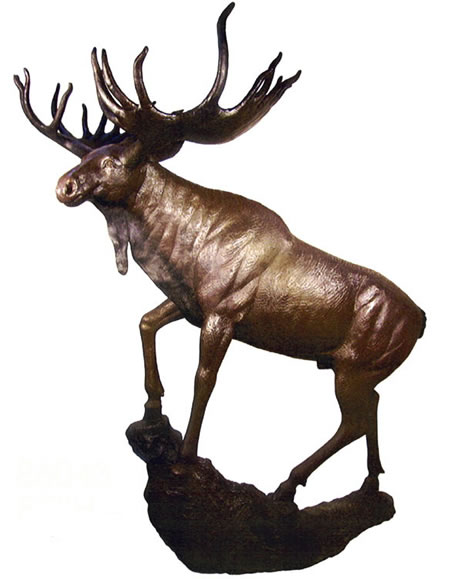 Bronze Moose Sculpture on Base, Large