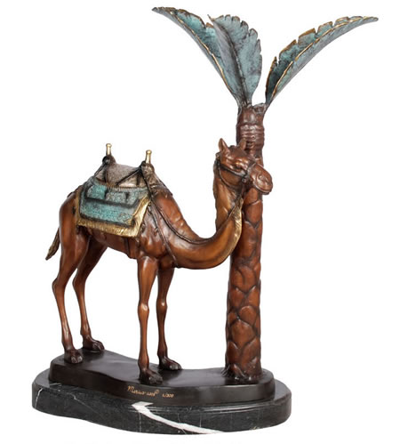 Camel by Palm Tree Bronze Statue