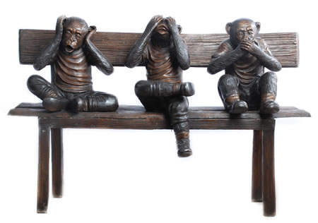 Hear, See, Speak No Evil Monkeys- Bronze