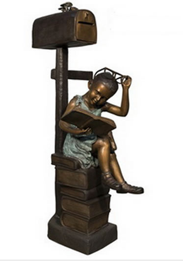 Reading Girl Bronze Mailbox