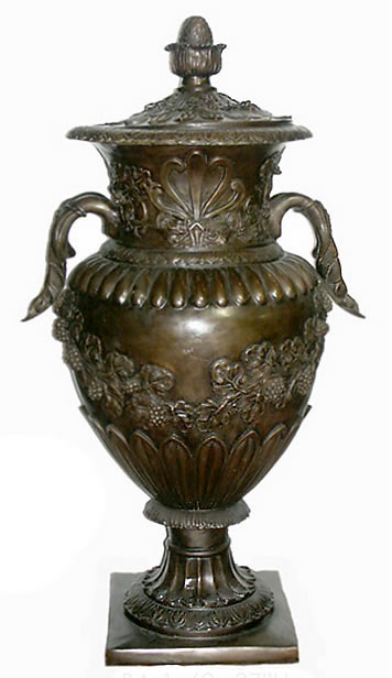 Bronze Urn with Lid- Grape Design