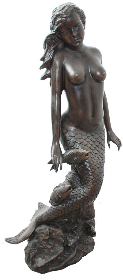 Upright Mermaid with Fish Bronze Fountain