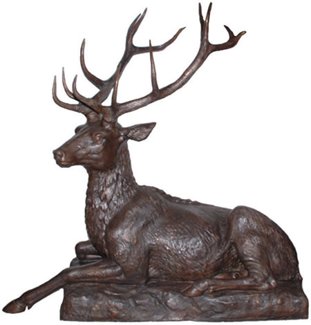 Bronze Stag Sculpture, Lying Down