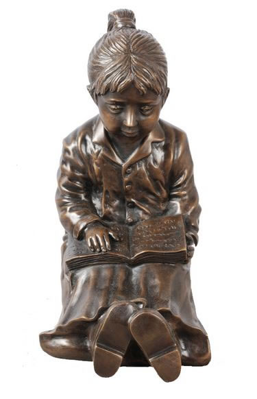Bronze Girl Emma Reading Book Statue