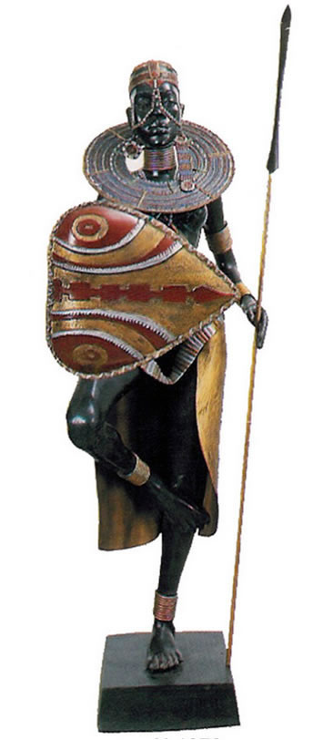 Bronze Lady Warrior with Heart Shield Sculpture