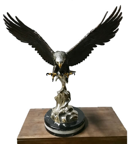 Bronze Eagle Landing with Marble Base