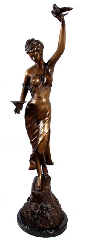 Bronze Lady with Flower and Bird Statue (Left)
