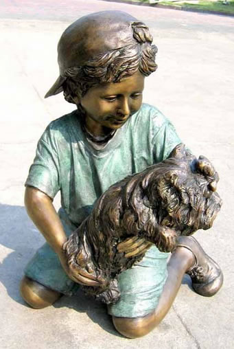 Play Pal- Bronze Boy With Puppy