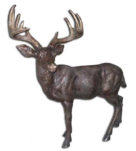 Large Whitetail Deer Bronze Sculpture