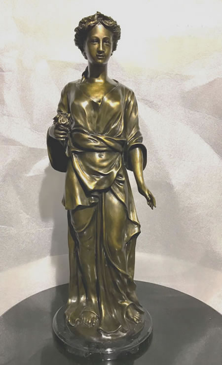 Bronze Lady Holding Flowers Statue