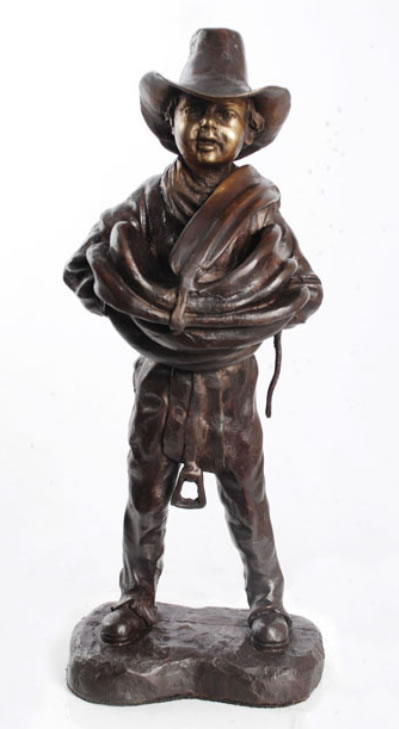 Young Cowboy with Saddle Bronze Statue