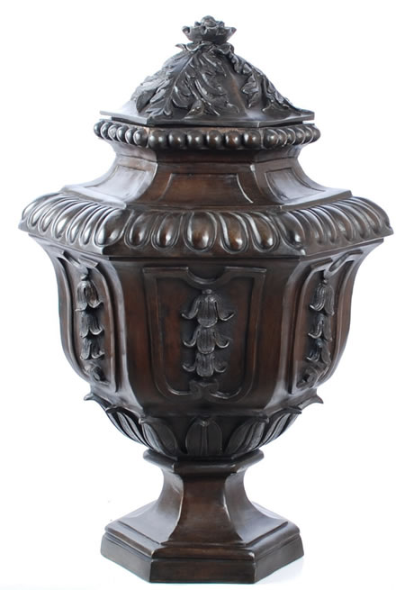 Bronze Bell Flower Urn with Lid
