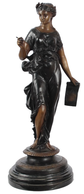 Bronze Lady Astrology with Map Statue