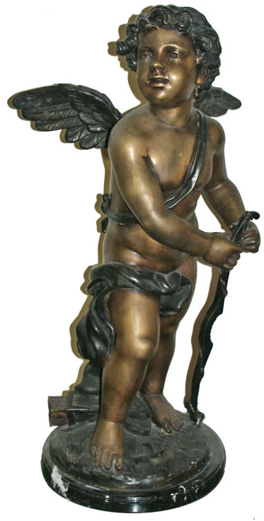 Bronze Cupid with Bow Sculpture