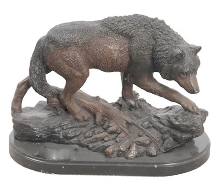 Bronze Wolf Statue on Marble Base