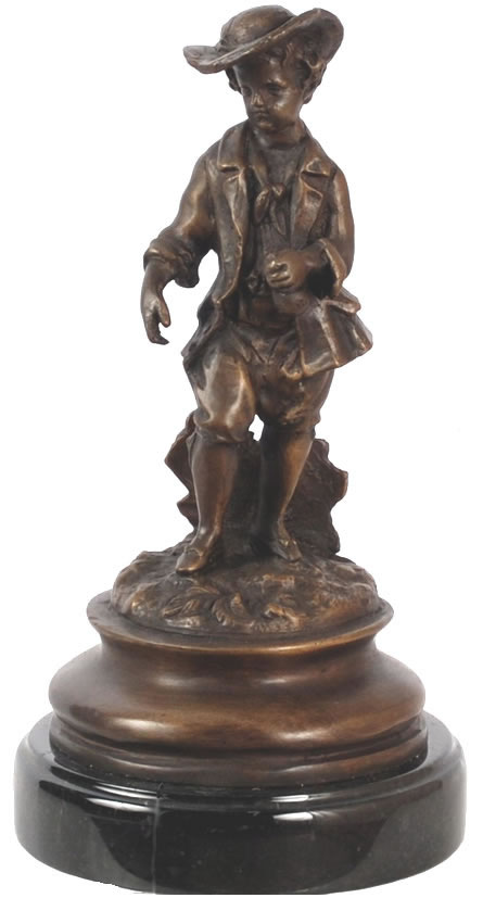 Bronze French Boy with Hat Statue