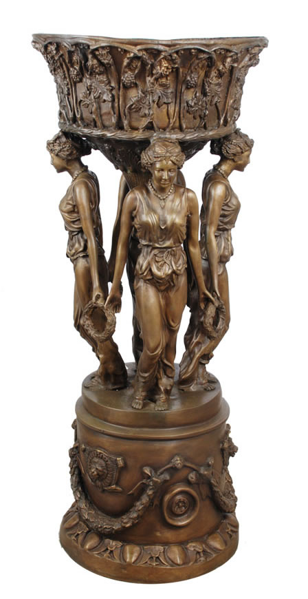 Bronze Ladies with Wreath Planter