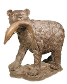 Bronze Bear with Salmon Sculpture