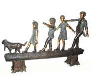 Bronze Kids & Dog Walking on Log