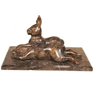 Bronze Rabbits Statue on Base