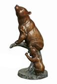 Bronze Bear with Cub on Tree Statue