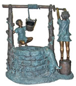 Two Boys at Wishing Well Bronze Fountain